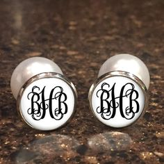 Monogrammed Double Sided Earrings  Monogram Personalized