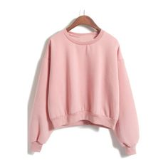 Round Neck Crop Loose Pink Sweatshirt ($19) ❤ liked on Polyvore featuring tops, hoodies and sweatshirts