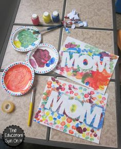 Easy Mother's Day Craft using Paint Resist.  Perfect for a Mother's Day Gift from Kids! @amandameeks2433 what about doing something like this for them? Let them finger paint, then we remove the words? We could do mom, I love you, etc.