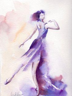Ballerine toile aquarelle originale Art Ballet par CanotStop
