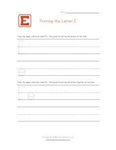 Alphabet Worksheet Letter E