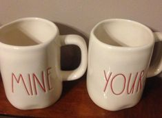 "2 Rae Dunn By Magenta ""Mine"" And ""Yours"" Mugs /Cups Red Large Print #RaeDunn"