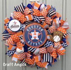 Your place to buy and sell all things handmade Baseball Wreaths, Sports Wreaths, Baseball Season, Deco Mesh Wreaths, Houston Astros, Room Themes, 4th Of July Wreath, Mlb, Centerpieces