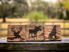 Animal Silhouette Reclaimed Pallet Wood Coasters by RedWolfRustics on Etsy https://www.etsy.com/listing/494872593/animal-silhouette-reclaimed-pallet-wood