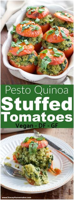 This is one of our favorite easy, healthy dinner recipes! Roasted stuffed tomatoes are filled to the brim with a flavorful mixture of pesto quinoa and fresh spinach. Vegan, dairy-free, and gluten-free.