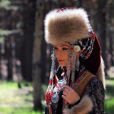 Beautiful Buryat-Mongolian girl with traditional clothes.