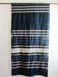 Hand-loomed indigo wall hanging