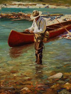 Brett Smith fly fishing painting, brettsmith.com #rowboatpainting