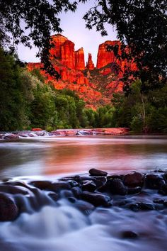 "Cathedral Rock Sedona, Arizona, #USA - Cathedral Rock is a famous landmark on the Sedona, Arizona skyline, and is one of the most-photographed sights in Arizona, USA. Cathedral Rock is located in the Coconino National Forest in Yavapai County, about a mile (1.6 km) west of Arizona Route 179, and about 2.5 miles (4.0 km) south of the ""Y"" intersection of Routes 179 and 89A in uptown Sedona. The summit elevation of Cathedral Rock is 4,921 feet (1,500 m)."