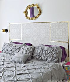 Create a gorgeous DIY Headboard just by using Removable Wallpaper. This is a great renter friendly option as well as budget friendly. Wallpaper Headboard, Headboard Art, Old Wallpaper, Diy Headboards, Textured Wallpaper, Easy A, Terra Cotta, How To Install Beadboard, Bookshelf Makeover