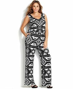 INC International Concepts Plus Size Sleeveless Printed Beaded Jumpsuit