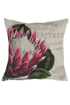 """Add a pretty and feminine finishing touch to your room with this Protea printed cushion.<BR /><BR />What is the size?<BR />55cm x 55cm = (L x W)<BR /><BR />What is the fabric made up of?<BR />100% Polyester<BR /><BR />What is the inside made of?<BR />Hollowfibre Fill<BR /><BR />How to care for this product<BR /><img src=""""http://mrpg.scene7.com/is/image/MRP/03_WC_SS17?$03-atg-WashCodes$"""" />"""