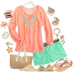 Love coral and mint, el color del verano! Passion For Fashion, Love Fashion, Fashion Outfits, Womens Fashion, Spring Summer Fashion, Spring Outfits, Pretty Outfits, Cute Outfits, Warm Weather Outfits