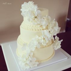 Tonal ivory with hydrangea wedding cake, via www.milissweets.com
