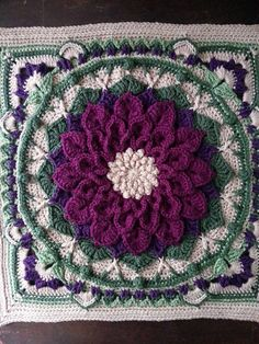 Ravelry: Project Gallery for The Enchanted Garden Tote pattern by Courtney Laube Crochet Flower Squares, Crochet Squares Afghan, Crochet Mandala Pattern, Granny Square Crochet Pattern, Crochet Flower Patterns, Crochet Stitches Patterns, Knitting Patterns, Granny Squares, Crochet Blocks