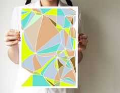 Abstract art print  Mosaic collection  A3 print  by villavera, $29.00