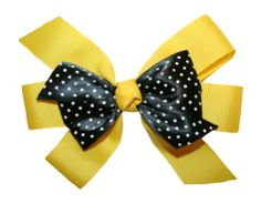 """#Webb_Direct_2U { #Bumblebee) New Yellow & Black Dotted GrosGrain #Hairbow on Alligator Clip Bright Yellow Triple Tied GrosGrain Bow with Black Dotted Satin Ribbon Bow Center Bow Measures Approximately 4 1/2"""" by 3 1/2"""" Bow is Attached Well to an Alligator Style Clip Individually Handmade in the USA http://www.amazon.com/dp/B00BEM1PHU/ref=cm_sw_r_pi_dp_yGqftb0R4T2CRXTG"""