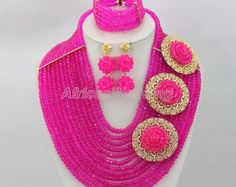 Fushia Crystal Beads Necklace Set,African Wedding Crystal Beaded Jewelry,African Nigerian Wedding Crystal Beads Necklace-CN12315 Crystal Bead Necklace, Crystal Beads, Necklace Set, Beaded Jewelry, Beaded Necklace, Crystals, Nigerian Beads, Jewelry Sets, Unique Jewelry