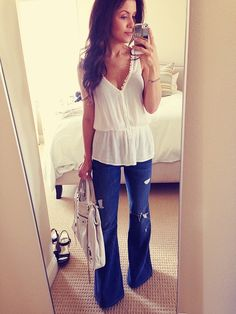 Great Spring outfit!!  Forever21 top, Seven for All Mankind distressed flares and Balenciaga bag I The HONEYBEE: Fashion