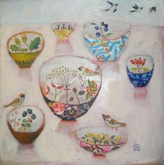 Sweet dishes painted by Vanessa Cooper.  ( reminds me of Margaret )