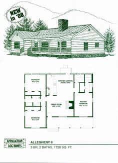 Appalachian Log & Timber Homes Allegheny II Blockhaus Hybrid Home Grundriss Log Cabin Floor Plans, Cabin House Plans, Log Cabin Kits, Log Home Plans, Log Cabin Homes, Small House Plans, House Floor Plans, Log Home Kits, Barn Plans