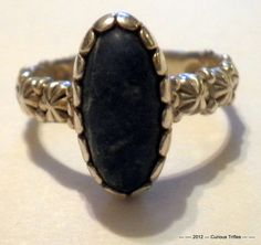 Sterling Silver Lapis with Flower Design Ring  by curioustrifles, $20.00