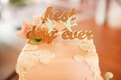 what an understatement. word cake topper for wedding cake