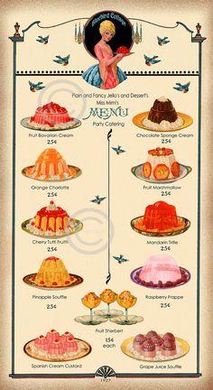Art Deco Jello Menu Catering Sign, 1927 Cookbook Art, Vintage Kitchen Decor, Blue Bird Cottage, Fancy desserts, Giclee Fine Art Print, 10x20