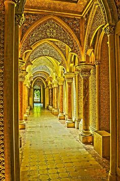 The golden hallway, Castle Monserrate, Portugal by Marita Toftgard