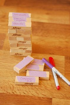 Write on the blocks things that build up families. Build a tower with the blocks and talk about how it represents our homes. Then remove blocks Jenga-style and relate the missing blocks to selfish or unkind actions, teasing, fighting quarreling, disobedience, etc. The tower (our families) get weaker with each block that is removed.