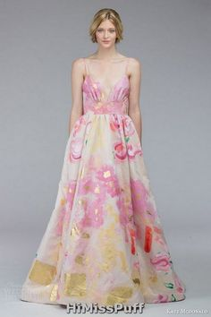 kate mcdonald bridal fall 2015 mcleod floral print wedding dress sleeveless spaghetti straps a line silhoutte / http://www.himisspuff.com/colorful-non-white-wedding-dresses/8/
