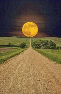 Harvest moon at the end of a country road
