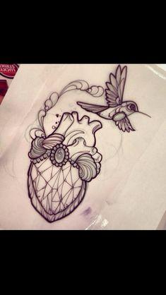 Neo traditional hummingbird tattoo flash