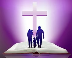families in bible | Family walking in Bible with Cross small