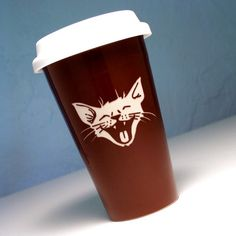 Laughing Cat Travel Mug - Bread and Badger Gifts