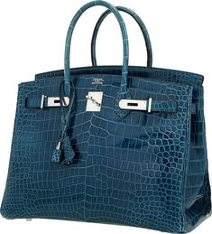 Hermes 35cm Shiny Blue Roi Porosus Crocodile Birkin Bag with Palladium Hardware