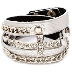 Cross and Chain Wrap Bracelet More Colors $20.00 ❤ liked on Polyvore featuring jewelry, bracelets, accessories, pulseiras, bijoux, chain bracelet, snap bracelet, black bangles, brown leather bracelet and body chain jewelry