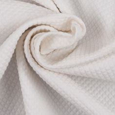 Whisper White Stretch Cotton-Polyester Quilted Woven