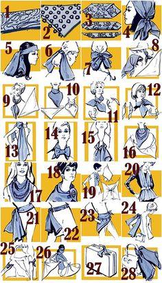 28 ways to wear a scarf/hankercheif