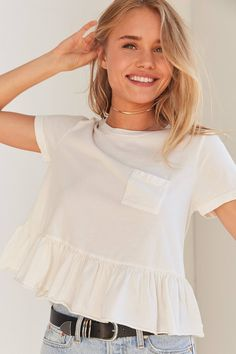 Truly Madly Deeply Babydoll Peplum Tee | Urban Outfitters
