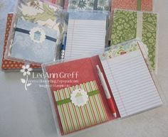 Clear stamp case from Stampin Up turned into a notebook that doesn't get ruined in your purse.  Super cute!