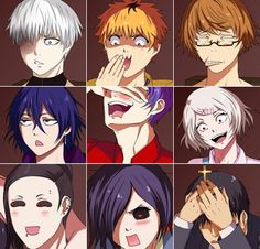 "Funny Faces of Tokyo Ghoul I love that nishiki has the ""I've seen Excalibur"" face"