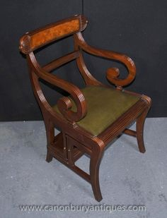 absolutely unique regency style arm chair library step ladder