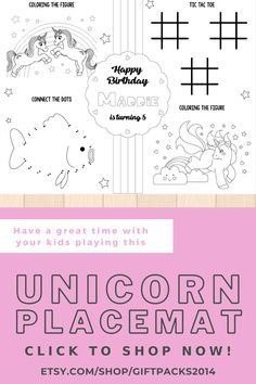 Celebrate your birthday party with these gorgeous Unicorn Activity Placemat!