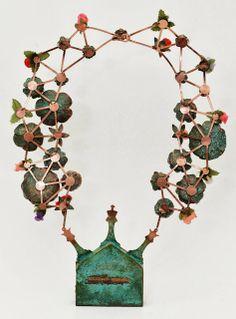 Casa Kiro Joyas. Ayúdame Papito. Animita Soul house. necklace. oxidized copper, cloth, resin, papel. Piece for The Baroque Persistence exhibition, Joya Brava, 2013