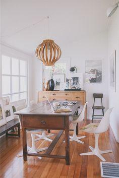 Victoria Smith of @sfgirlbybay / victoria smith / victoria smith // dining room // modern white chairs // wooden table // lantern light fixture // photography by @Edyta Kotowicz Szyszlo