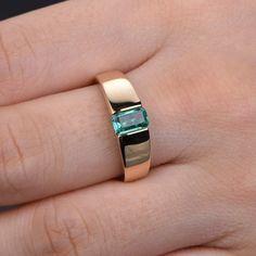 1bf6ed983252 18K anillo de compromiso esmeralda de oro amarillo ancho banda ancha  hombres banda de bodas