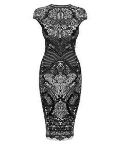 Alexander Mcqueen Black Victorian Puckering Lace Jacquard Capsleeve Pencil Dress in Black