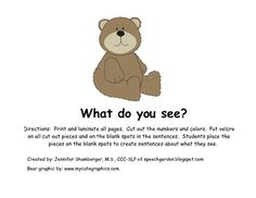 Describing Bears by Color and Number - Pinned by @PediaStaff – Please Visit http://ht.ly/63sNt for all our pediatric therapy pins