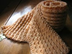 A Fast Knit Scarf. The Texture looks Cabled, but it isn't. Free, easy knitting pattern.